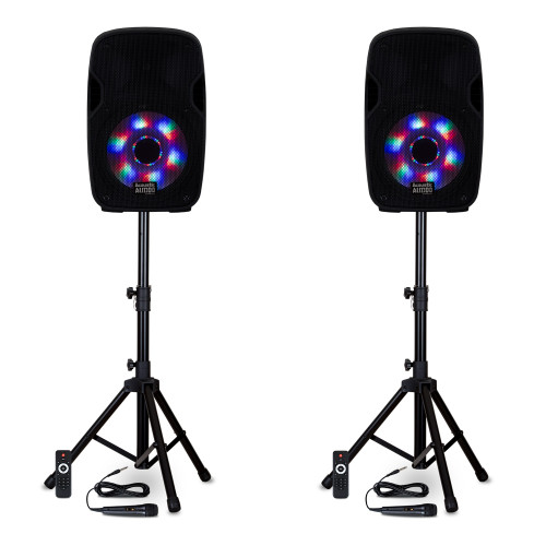 """BBQ152 Powered 15"""" Bluetooth 5.0 True Wireless Stereo (TWS) LED Speakers with Mics & Stands"""
