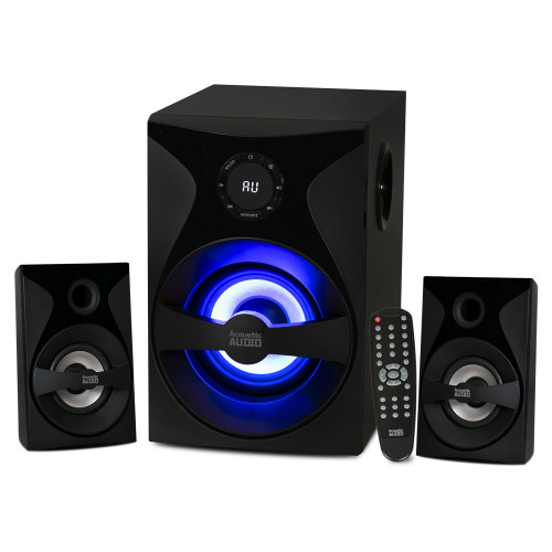 Acoustic Audio by Goldwood Bluetooth 2.1 Surround Sound System with LED Light Display, FM Tuner, USB and SD Card Inputs - Multimedia PC Speaker Set with Subwoofer, Includes Remote Control - AA2400 Black