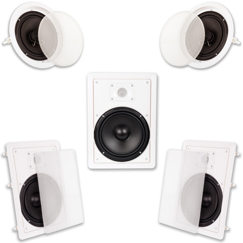 """HT-85 Flush Mount 5 Speaker Set with 8"""" Woofers Wall and Ceiling"""