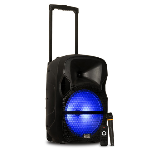"""PRTY121 Battery Powered 12"""" Bluetooth Speaker with LED Display and Wireless Mic"""