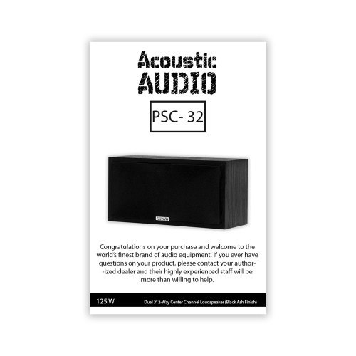 Acoustic Audio PSC32 Center Channel Speaker 2-Way Home Theater Surround Sound