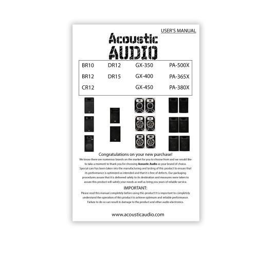 "Acoustic Audio BR12 Passive 12"" Speaker 3-Way DJ PA Karaoke Band Home Monitor"