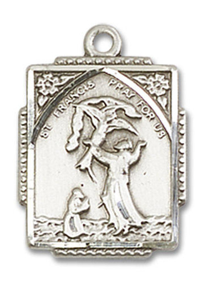 St Francis Medal - Sterling Silver 3/4 x 1/2 Rectangular Pendant 0804FCSS