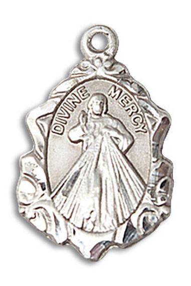 Embellished Divine Mercy Medal - Sterling Silver 3/4 x 1/2 Pendant 0822DMSS