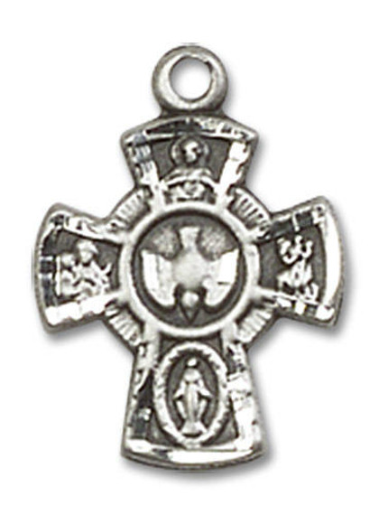 5-Way Holy Spirit Medal - Sterling Silver 5/8 x 3/8 Pendant 3145SS
