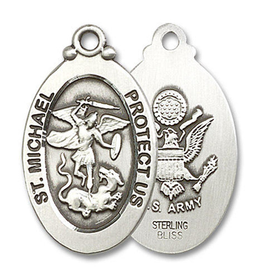 Large St Michael Army Medal - Sterling Silver 1 1/8 x 5/8 Oval Pendant 4145RSS2