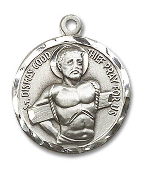 St Dismas The Good Thief Medal - Sterling Silver 3/4 x 3/4 Round Pendant 5436SS