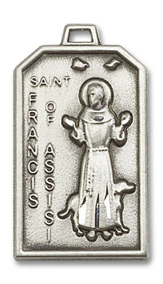 Large St Francis of Assisi Medal - Sterling Silver 1 1/8 x 5/8 Rectangular Pendant 5724SS