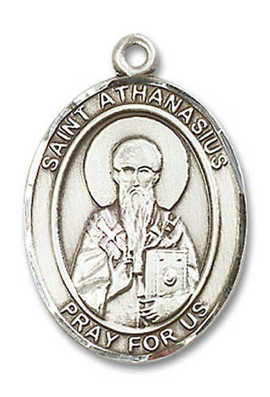 St Athanasius Medal - Sterling Silver Oval Pendant 3 Sizes