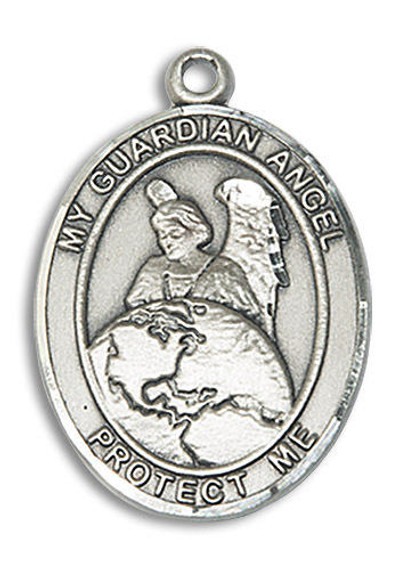 My Guardian Angel Protector Medal - Sterling Silver Oval Pendant 2 Sizes