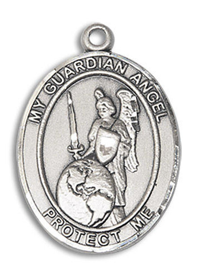 Guardian Angel of The World Medal - Sterling Silver Oval Pendant 2 Sizes