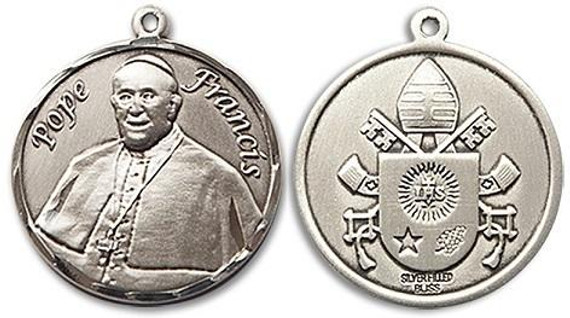 Pope Francis Medal - Sterling Silver Round Pendant 2 Sizes
