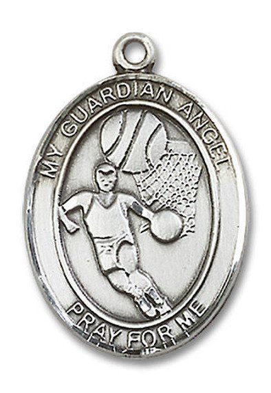 Guardian Angel Basketball Medal - Sterling Silver Oval Pendant 2 Sizes