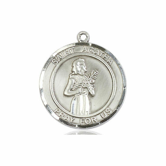 St Agatha Medal - Sterling Silver Round Pendant 2 Sizes