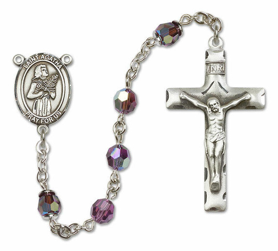 St Agatha Sterling Silver Rosary - 16 Color Options 8003/0644
