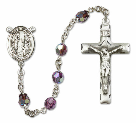 St Genevieve Sterling Silver Rosary - 16 Color Options 8041/0644