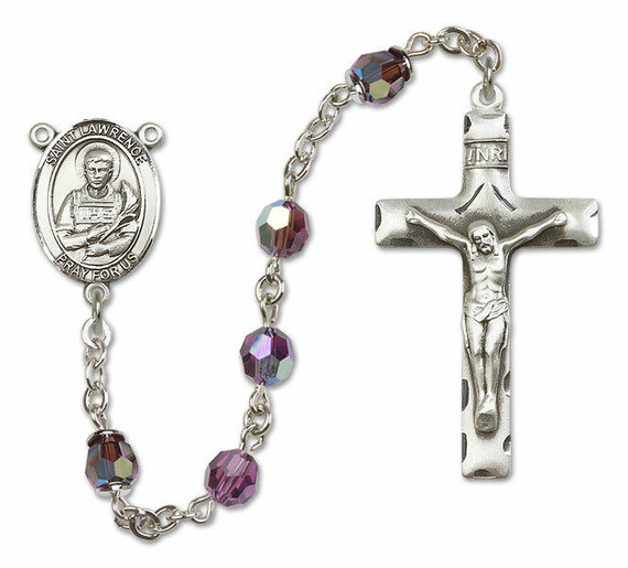 St Lawrence Sterling Silver Rosary - 16 Color Options 8063/0644