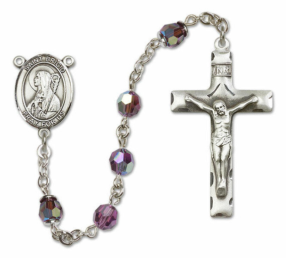 St Brigid of Ireland Sterling Silver Rosary - 16 Color Options 8123/0644