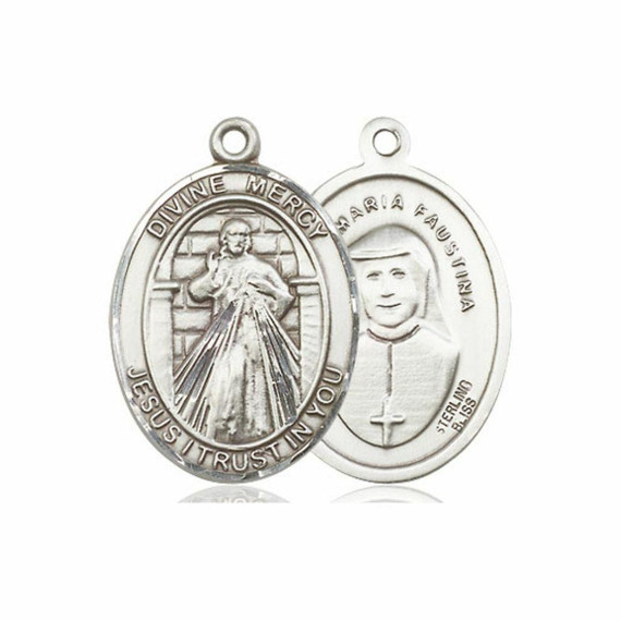 Divine Mercy Medal - Sterling Silver Oval Pendant 3 Sizes
