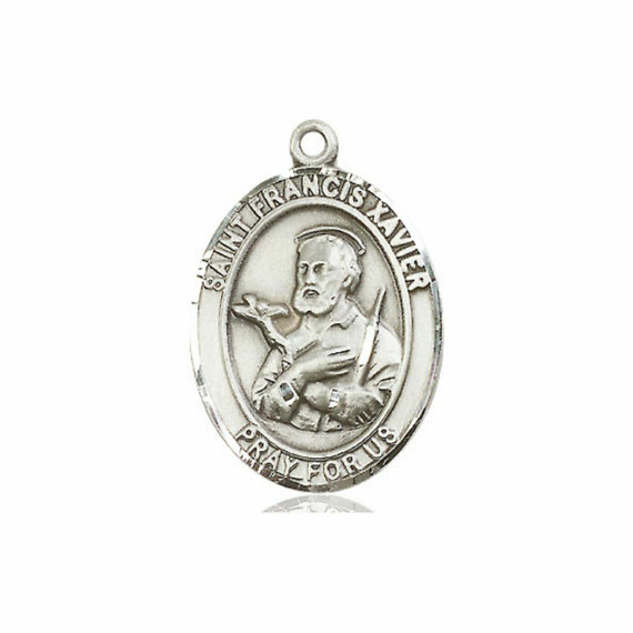 St Francis Xavier Medal - Sterling Silver Oval Pendant 3 Sizes