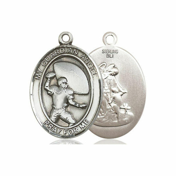 Guardian Angel Football Medal - Sterling Silver Oval Pendant 2 Sizes