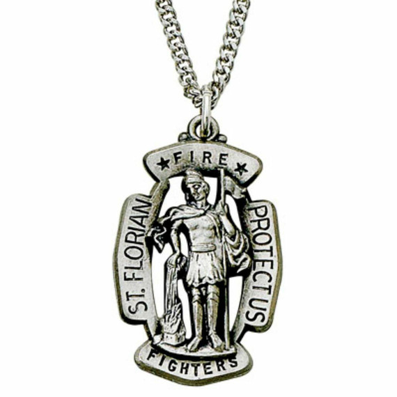St Florian Firefighter Necklace - Sterling Silver Medal On 24 Stainless Chain SM9210SH