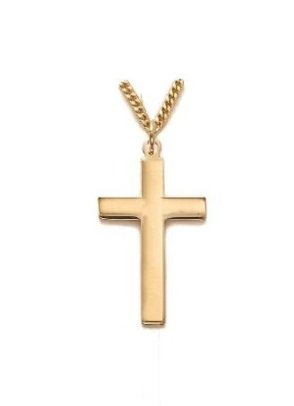 Plain Cross Necklace - Gold-Filled Pendant on 24 Gold-Plated Chain SX0327GH