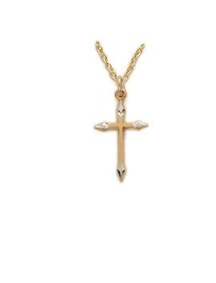 2Tone Point Engraved Cross Necklace - Gold-Filled Pendant on 18 Gold-Plated Chain SX7975GH