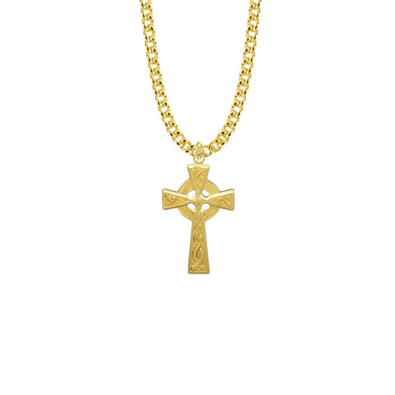 Mens Celtic Cross Necklace - 14K Gold-Filled Pendant On 24 Gold-Plated Chain SX7905GH