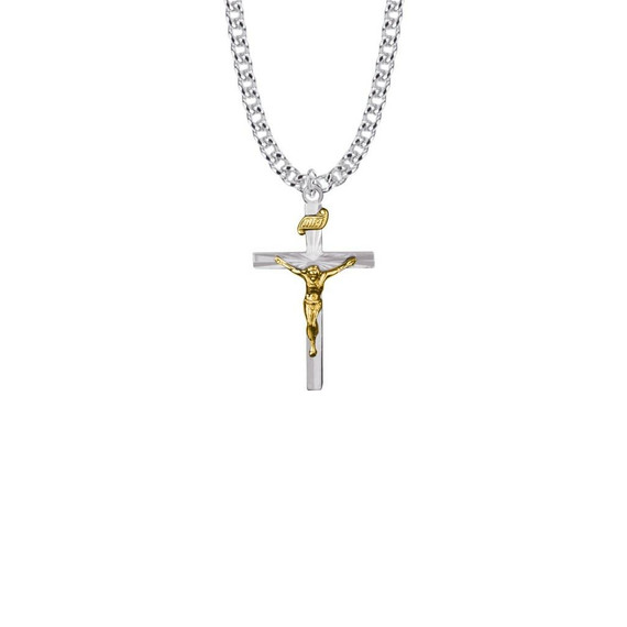 Two-Tone Starburst Crucifix Necklace - Sterling Silver Pendant On 20 Stainless Steel Chain SX8509SH