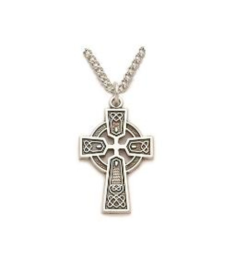 Trinity Design Celtic Cross Necklace - Sterling Silver Pendant on 18 Stainless Steel Chain SX8969SH
