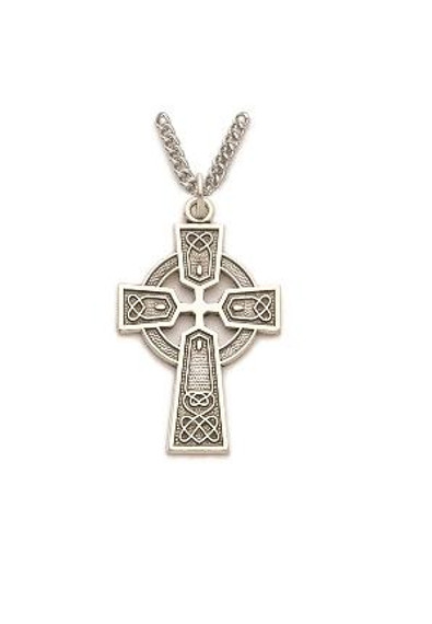 Large Celtic Cross Necklace - Sterling Silver Pendant on 24 Stainless Steel Chain SX8968SH
