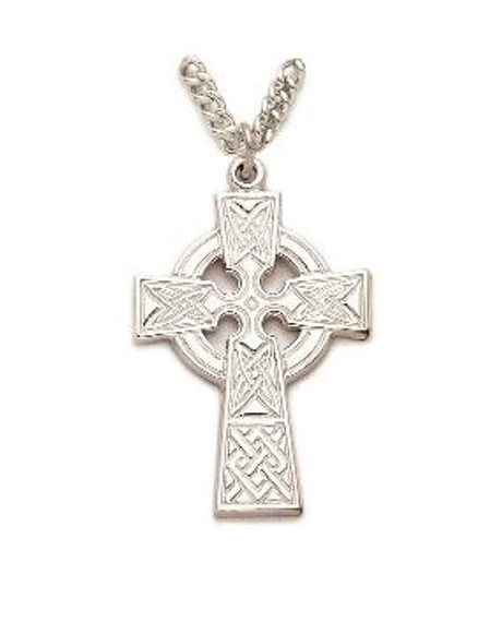 Celtic Cross Necklace - Sterling Silver Pendant on 24 Stainless Steel Chain SX0423SH