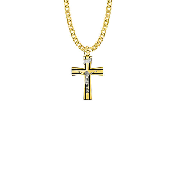 Flared Antique Crucifix with Black Enamel Necklace - 14KT Gold over Sterling Silver Pendant On 20 Gold Plated Chain SX8070VH