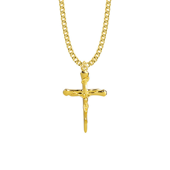 Mens Nail Crucifix Necklace - 14KT Gold Over Sterling Silver Pendant On 24 Gold Plated Chain SX7980VH
