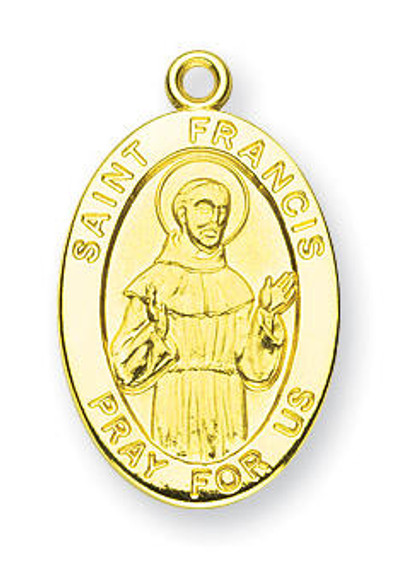 St Francis Medal With 14KT Jump Ring - Boxed - 14kt Gold 7/8 x 1/2 Oval Pendant A9255