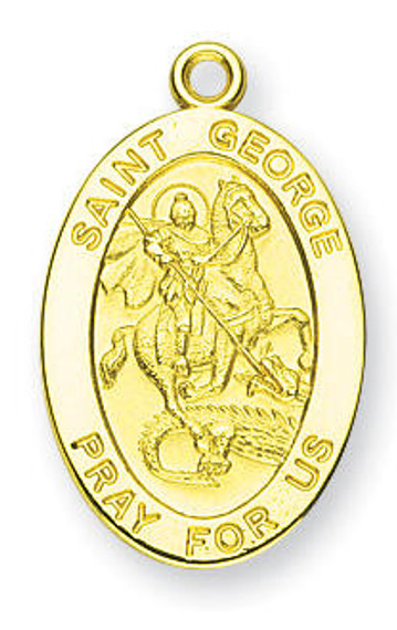 St George Medal With 14KT Jump Ring - Boxed - 14kt Gold 7/8 x 1/2 Oval Pendant A9261