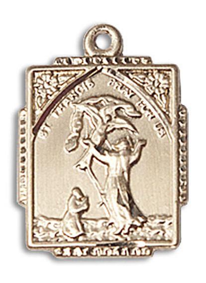 St Francis Medal - 14kt Gold 3/4 x 1/2 Rectangular Pendant 0804FC