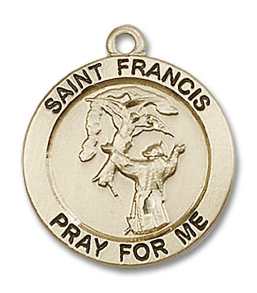 St Francis Medal - 14kt Gold 3/4 x 3/4 Round Pendant 4061