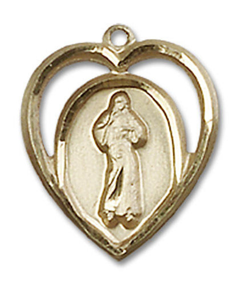 Cut Out Heart Shaped Divine Mercy Pendant - 14kt Gold 5/8 x 1/2 4119