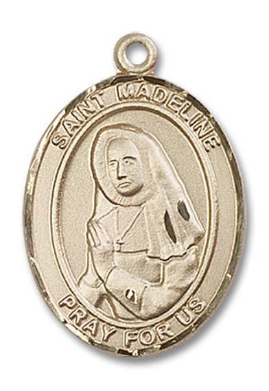 St Madeline Medal - 14kt Gold Oval Pendant 3 Sizes