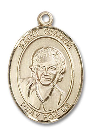 St Gianna Medal - 14kt Gold Oval Pendant 3 Sizes