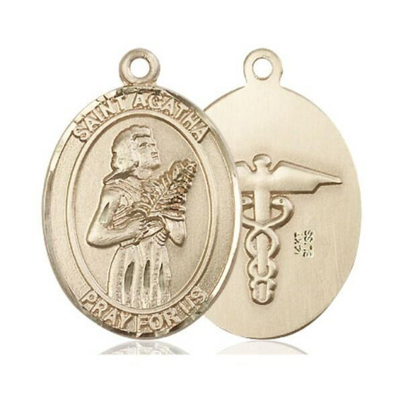 St Agatha Nurse Medal - 14kt Gold Oval Pendant 2 Sizes