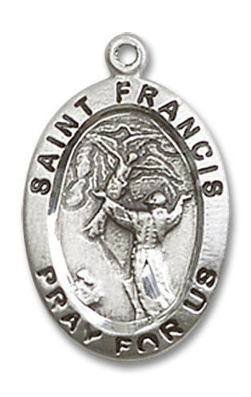 St Francis Medal - Sterling Silver 3/4 x 1/2 Oval Pendant 3989SS
