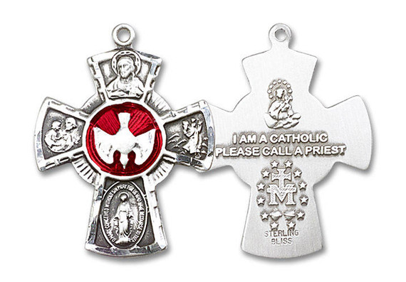 Red Inlay 5-Way Confirmation Medal - Sterling Silver 1 1/8 x 7/8 Pendant 0045ESS