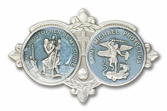 Blue St Christopher and St Michael Visor Clip - Silver Finish 1034EV