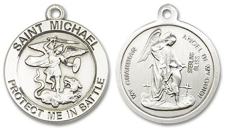Large St Michael and Guardian Angel Medal - Sterling Silver 1 x 7/8 Round Pendant 1170SS
