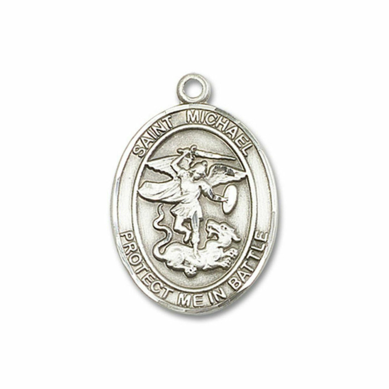 St Michael and Guardian Angel Medal - Sterling Silver Oval Pendant 2 Sizes