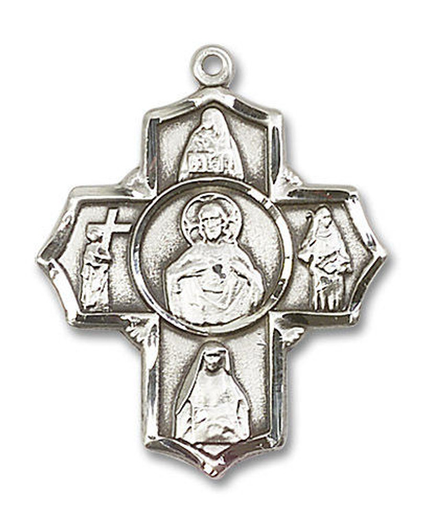 Large Scapular 5-Way Medal - Sterling Silver 1 1/4 x 1 Pendant 5715SS
