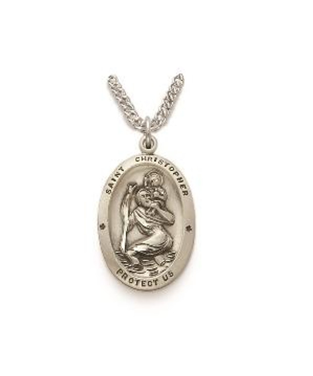 St Christopher Necklace - Sterling Silver Medal on 20 Stainless Chain SM0874SH